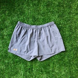 **Under Armour Grey & Orange Storm1 workout shorts